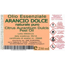 Olio Essenziale ARANCIO DOLCE NATURALE PURO - 250 ml
