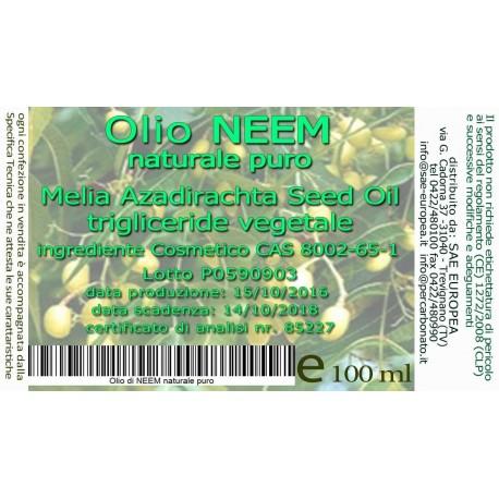 Olio di NEEM 100 ml -BIO certificato ICEA