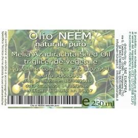 Olio di NEEM 250 ml BIO certificato ICEA